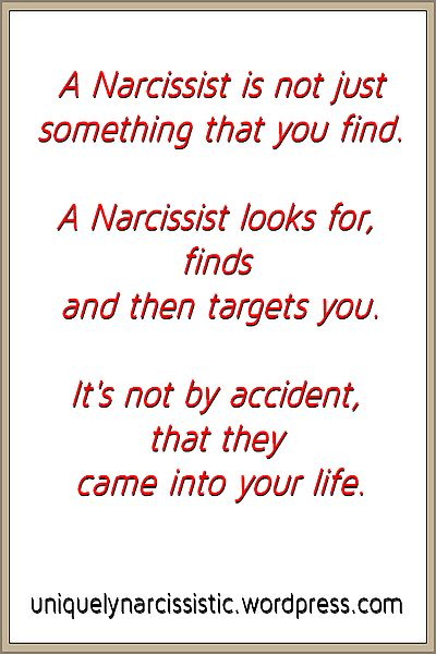 "Quote ""A Narcissist is not just something that you find. A Narcissist looks for, finds and then targets you. It's not by accident that they came into your life."" by uniquelynarcissistic.wordpress.com"