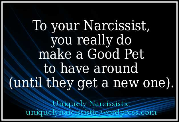 "Quote ""To your Narcissist, you really do make a Good Pet to have around (until they get a new one)."" by uniquelynarcissistic.wordpress.com"